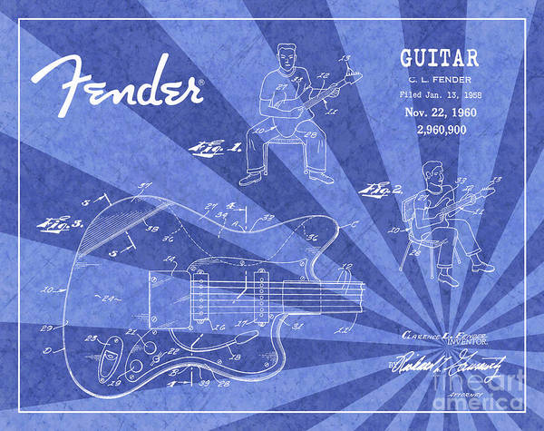 Tremolo Digital Art - 1960 Fender Guitar Patent Art Blue Ray Pattern 1 by Nishanth Gopinathan