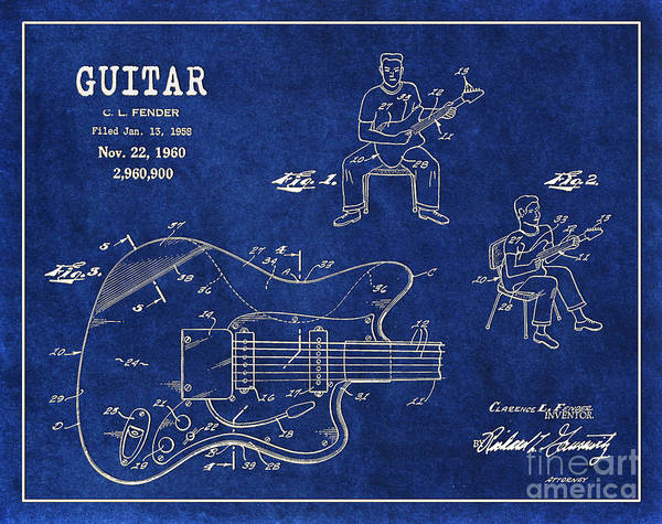 Tremolo Digital Art - 1960 Fender Guitar Patent Art In White On Blue Background 1 by Nishanth Gopinathan