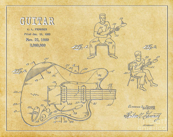 Tremolo Digital Art - 1960 Fender Guitar Patent Art In White On Parchment 1 by Nishanth Gopinathan
