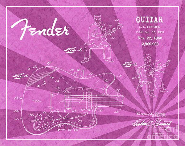 Tremolo Digital Art - 1960 Fender Guitar Patent Art Pink Ray Pattern 1 by Nishanth Gopinathan