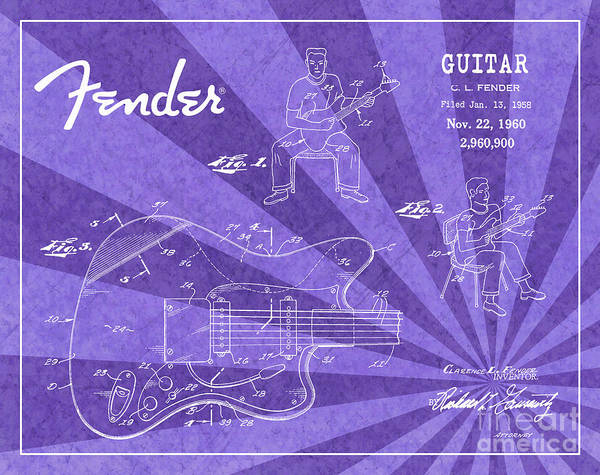 Tremolo Digital Art - 1960 Fender Guitar Patent Art Purple Ray Pattern 1 by Nishanth Gopinathan