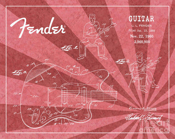 Tremolo Digital Art - 1960 Fender Guitar Patent Art Red Ray Pattern 1 by Nishanth Gopinathan