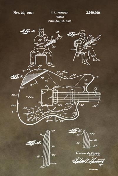 Wall Art - Digital Art - 1960 Fender Guitar Patent by Dan Sproul