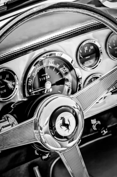 Exotic Car Photograph - 1960 Ferrari 250 Gt Cabriolet Pininfarina Series II Steering Wheel Emblem -1319bw by Jill Reger