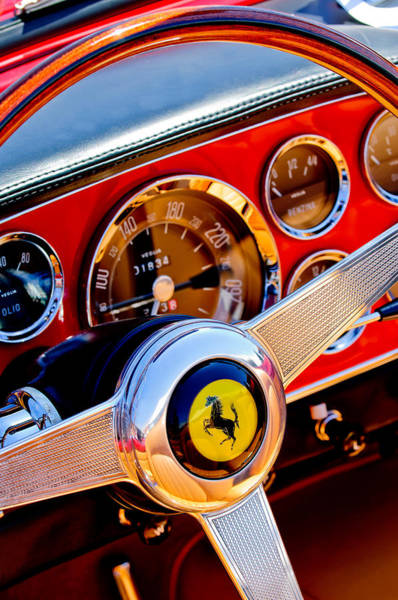 Steering Wheel Wall Art - Photograph - 1960 Ferrari 250 Gt Cabriolet Pininfarina Series II Steering Wheel Emblem -1319c by Jill Reger