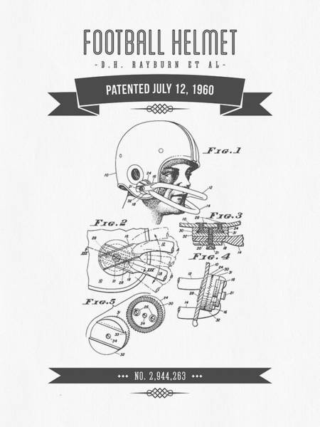 Gridiron Digital Art - 1960 Football Helmet Patent Drawing - Retro Gray by Aged Pixel