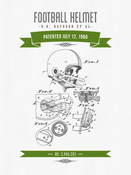 Gridiron Digital Art - 1960 Football Helmet Patent Drawing - Retro Green by Aged Pixel