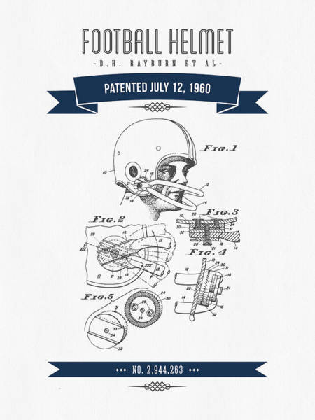 Gridiron Digital Art - 1960 Football Helmet Patent Drawing - Retro Navy Blue by Aged Pixel