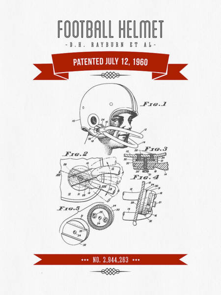 Gridiron Digital Art - 1960 Football Helmet Patent Drawing - Retro Red by Aged Pixel