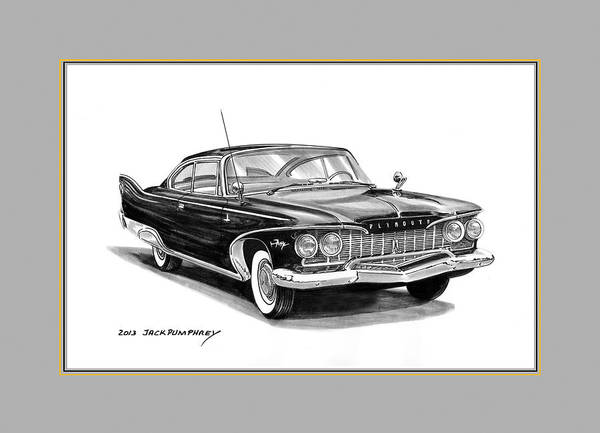 Classic Car Drawings Painting -  Plymouth Fury by Jack Pumphrey