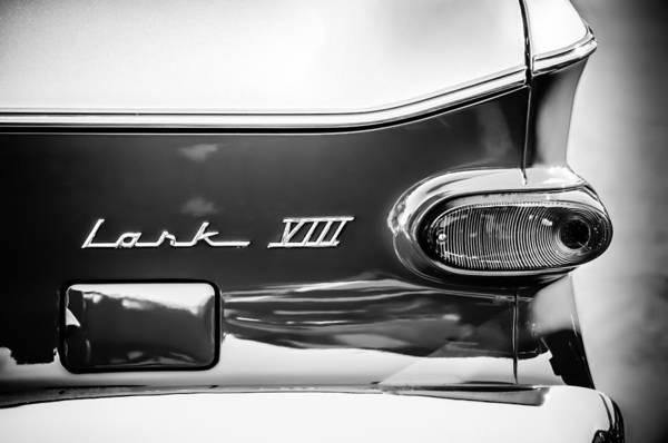 Photograph - 1960 Studebaker Lark Viii Taillight Emblem -154bw by Jill Reger