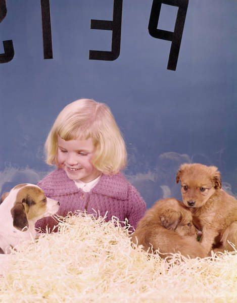 Adoption Wall Art - Photograph - 1960s 1950s Little Girl Looking In Pet by Animal Images