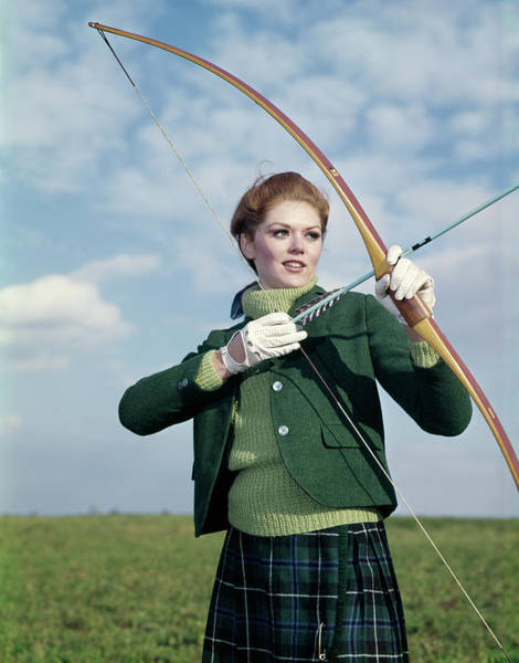 Archery Photograph - 1960s 1970s Sports Woman Archer Holding by Vintage Images