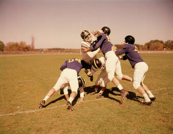 High School Photograph - 1960s 6 Football Players Field Play by Vintage Images