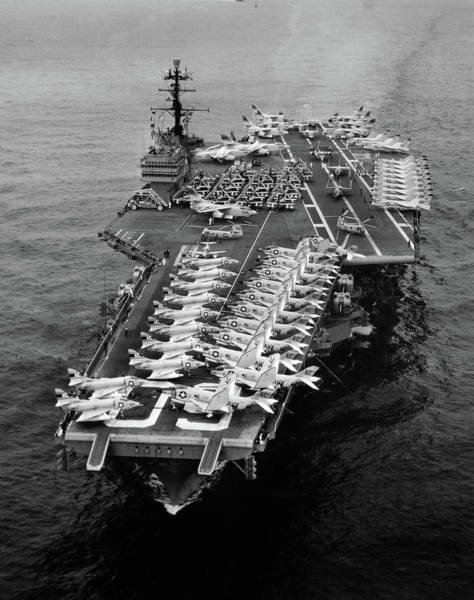 Vintage Airplane Photograph - 1960s Aerial Of Uss Saratoga Aircraft by Vintage Images