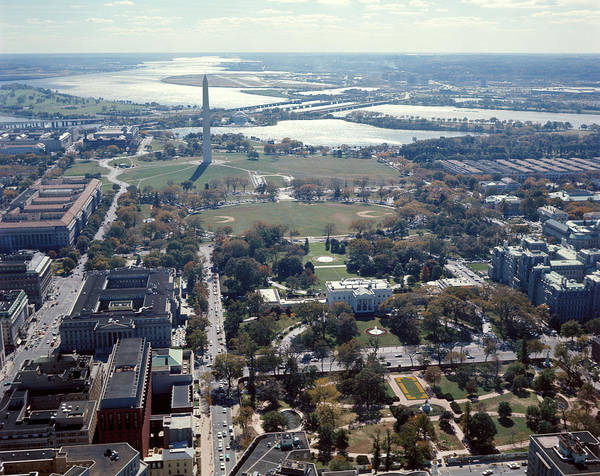 Potomac River Photograph - 1960s Aerial View Washington Monument by Vintage Images