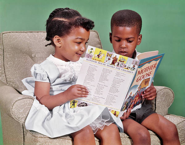 Mother Goose Photograph - 1960s African American Boy And Girl by Vintage Images