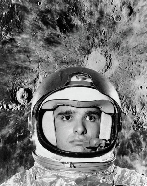 Silvery Photograph - 1960s Astronaut Montage Portrait Moon by Vintage Images