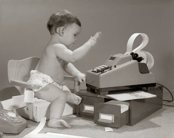 Bookkeeper Photograph - 1960s Baby Seated In Small Chair by Vintage Images