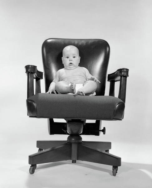 Yesterday Photograph - 1960s Baby Sitting In Executive Office by Vintage Images