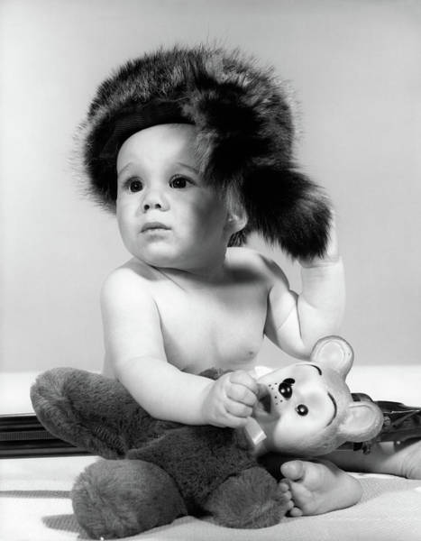 Raccoon Photograph - 1960s Baby Wearing Coonskin Hat by Vintage Images