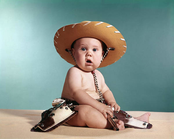 Western Costume Photograph - 1960s Baby Wearing Cowboy Costume by Vintage Images