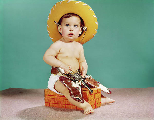 Space Gun Photograph - 1960s Baby Wearing Cowboy Hat by Vintage Images