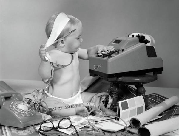 Bookkeeper Photograph - 1960s Baby With Adding Machine by Vintage Images