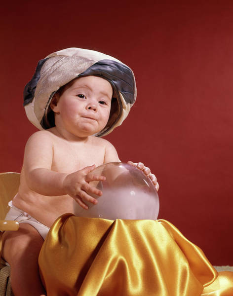 Wizard Hat Wall Art - Photograph - 1960s Baby With Fortune Teller Turban by Vintage Images