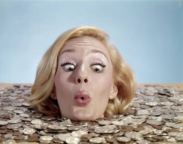Drown Photograph - 1960s Blond Woman Funny Facial by Vintage Images