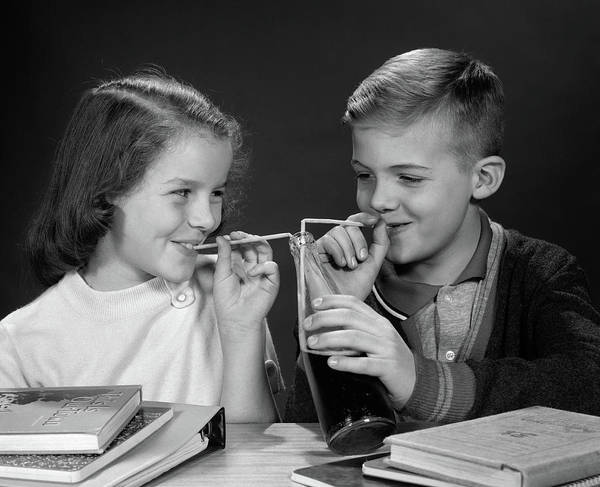 Soda Straws Photograph - 1960s Boy And Girl Sharing Single by Vintage Images