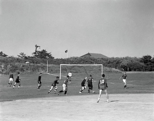 Esteem Photograph - 1960s Boys Playing Game Of Soccer by Vintage Images
