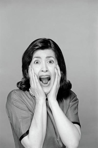 Squawk Photograph - 1960s Brunette Woman Screaming Mouth by Vintage Images