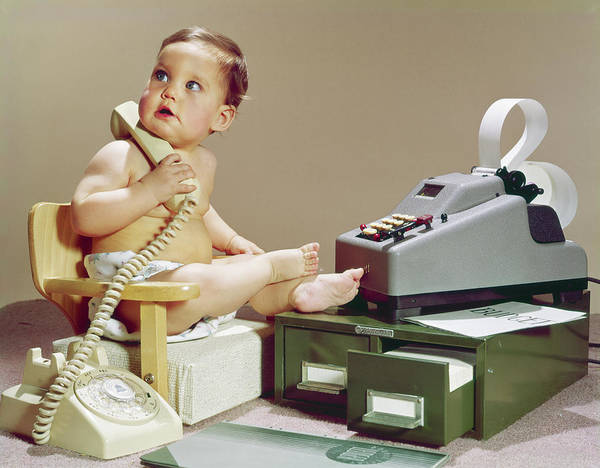 Bookkeeper Photograph - 1960s Business Baby Sitting In Chair by Vintage Images