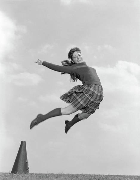 Wall Art - Photograph - 1960s Cheerleader In Sweater Plaid by Vintage Images