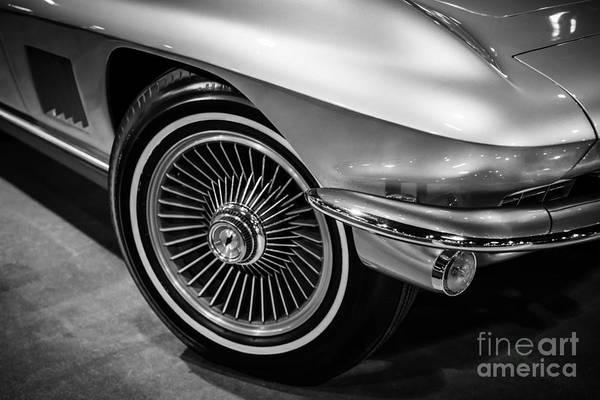 Sportscar Photograph - 1960's Chevrolet Corvette C2 In Black And White by Paul Velgos