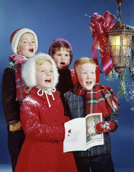 Carol Singing Photograph - 1960s Children Singing Carols Lamp by Vintage Images