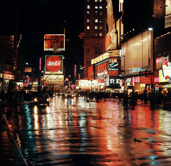 Crossroads Photograph - 1960s Circa 1967 Wet Street And Neon by Vintage Images