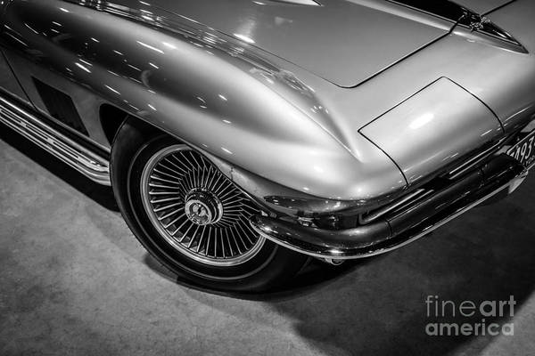 1965 Photograph - 1960's Corvette C2 In Black And White by Paul Velgos