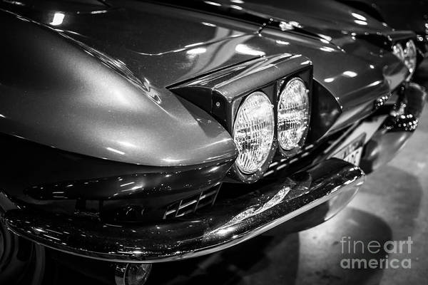 1966 Photograph - 1960's Corvette In Black And White by Paul Velgos
