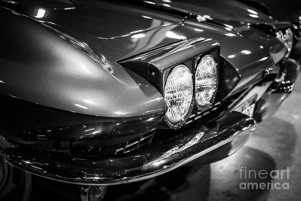 Sportscar Photograph - 1960's Corvette In Black And White by Paul Velgos