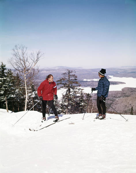 Wall Art - Photograph - 1960s Couple Man Woman Skiers On Top by Vintage Images