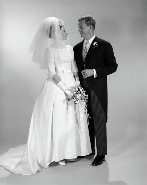 Wedding Bouquet Photograph - 1960s Couple Wedding Portrait by Vintage Images