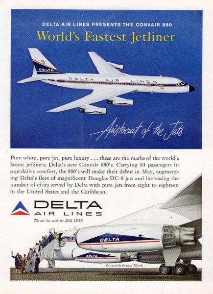 Photograph - 1960s Delta Convair 880 Ad by John King