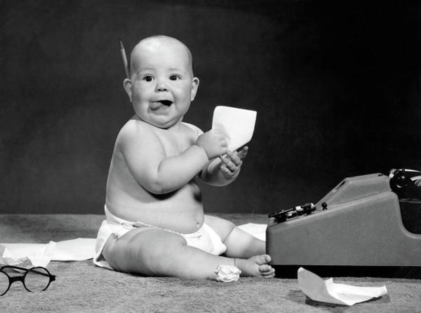 Child Actress Wall Art - Photograph - 1960s Eager Baby Accountant Working by Vintage Images