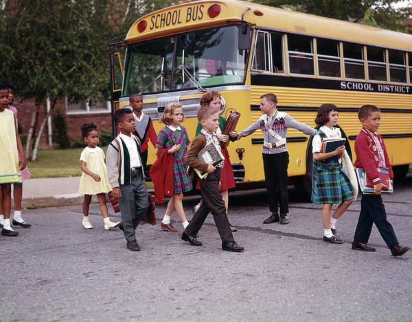 Primary Colors Photograph - 1960s Elementary School Children Cross by Vintage Images