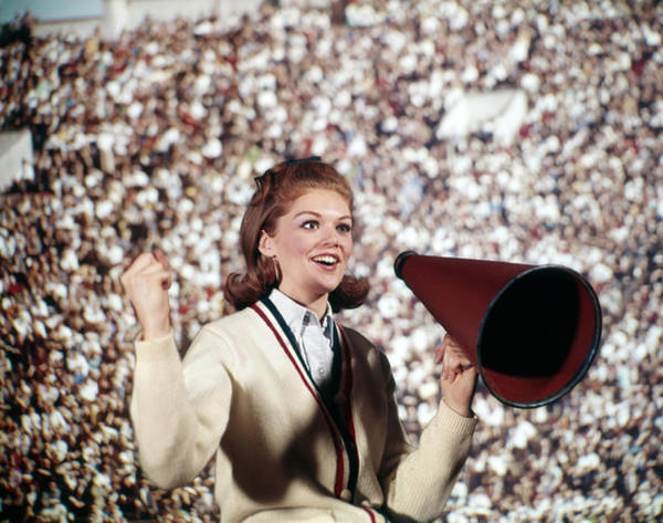 Wall Art - Photograph - 1960s Female Cheerleader Cheering Red by Vintage Images