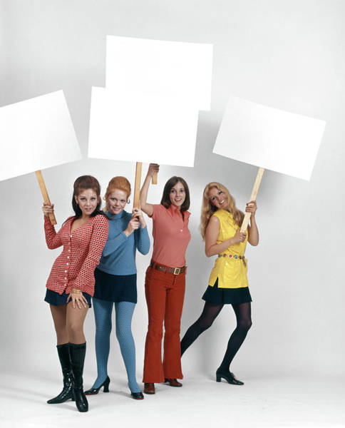 Wall Art - Photograph - 1960s Four Women Protesters Holding by Vintage Images