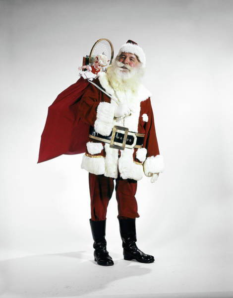Jolly Holiday Photograph - 1960s Full Length Portrait Of Santa by Vintage Images