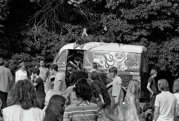 Pride Festival Photograph - 1960s Gathering Of Hippie Kids In Woods by Vintage Images